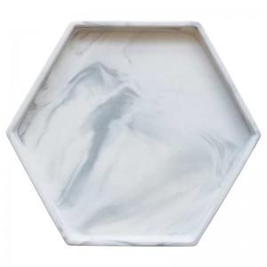InsFashion style simple gris blanc hexagonal marbre modèle plateau en céramique pour la décoration de style danois