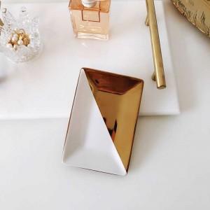 InsFashion simple style rectangle plaqué plat de bijoux en céramique pour fille fantaisie et décoration de style australien