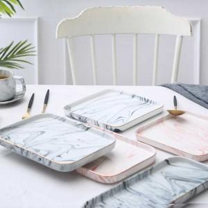 InsFashion rectangle super élégant et plateau de nourriture en céramique carrée pour la décoration élégante de style russe
