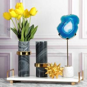 Plateau de service InsFashion en marbre avec poignée en laiton pour un décor de style européen moderne et un plateau de rangement