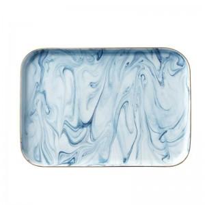 InsFashion très merveilleux tary alimentaire en céramique de motif en marbre pour une utilisation élégante de table et de cuisine de style nordique