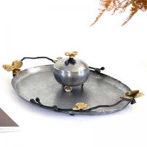 Vintage InsFashion faire vieux plateau de service ovale en cuivre pour décor de restaurant de style royal arabe