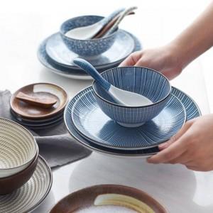 Japonais Classique En Céramique Vaisselle Cuisine Soupe Nouilles Riz Bol 6 pouce 8 pouce Grand Ramen Bol Cuillère Et Tasse À Thé Restaurant