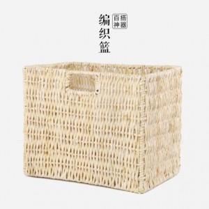 Panier de rangement de bureau tricoté à la main rustique de style japonais divers