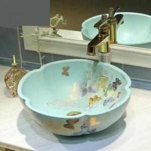 Lavabo en céramique de salle de bains Art Bassin Lavabo matte vert clair motif papillon doré éviers salle de bains fleur