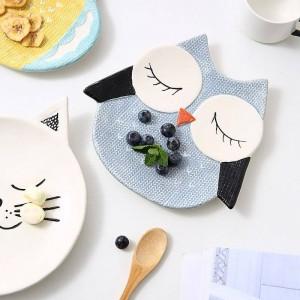 Plateau de casse-croûte d'enfants Assiette à dessert Assiette en porcelaine pour animaux de dessin animé Renard / chat / hibou / poussin