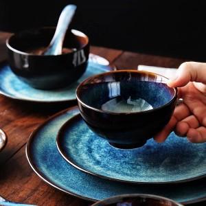KINGLANG 2/4/6 person Dinner Set Japanese Bowl Set Ménage Vaisselle En Céramique Ensemble Glaze Couleur Paon Modèle Bol Assiette Ensemble