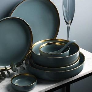 Ensemble pour 2, 4 ou 6 personnes KINGLANG Ensemble de vaisselle en céramique et garnitures dorées NOUVEAU Vaisselle en céramique bleue et dorée