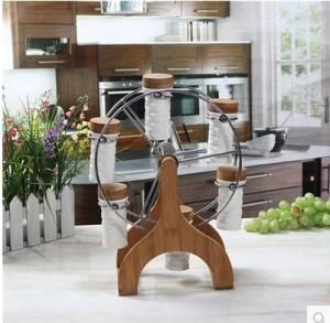 Fournitures de cuisine 6pcs / set Céramique assaisonnement coffret en bambou grande roue Rotation Rack Spice & Pepper Shakers ustensiles de cuisine