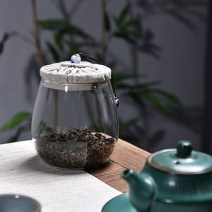 Boîtes de thé en verre sans plomb Creative Cloth couverture en bois Multigrain bouteille de stockage de fruits secs bidons scellés Fleur de thé pot de thé pot de cadeau