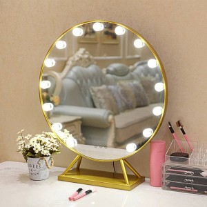 Miroir de maquillage rond à LED avec base de style nordique