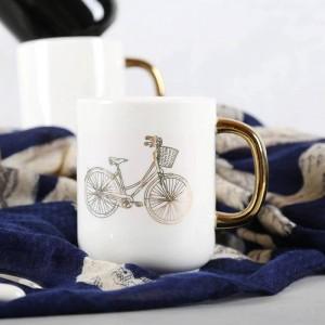 Lekoch 350 ml solide blanc noir tasse de café en céramique drôle bicyclette placage à l'or d'or tasses de voyage thé tasse de lait bureau maison couple tasse