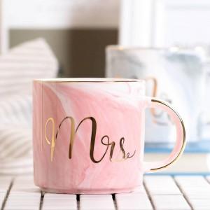 Lekoch 380ml Marbre Tasse En Céramique De Voyage Tasse À Café Tasses À Thé De Lait Créatif M. Et Mme Tasses Rose Or Incrusté Petit Déjeuner Décor À La Maison