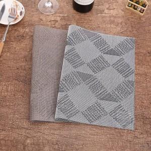 Lekoch 4Pcs / lot Set de table PVC Rectangle Table Tapis Napperons Gris Non-Slip En Plastique Bol Bol Pad Maison Cuisine Dîner Place Mats