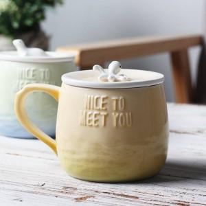 Tasse de café en céramique de bande dessinée créative de Lekoch tasses de tripes de 360ml 3D avec le couvercle poignée animal marin drôle dégradé tasse de thé de lait