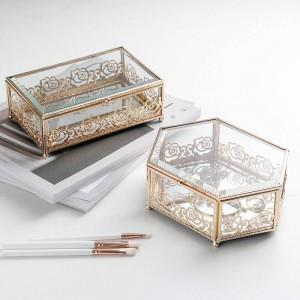 Boîte à bijoux en verre forgé plaqué or à la maison en verre clair de luxe