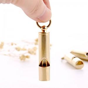 Luxe Gold Metal Whistle Survival dans la nature sauvage Auto-défense Vêtements Décor Laiton De Stockage En Laiton Sifflet Petit Et Exquis Organisateur