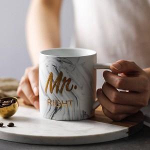 Luxe Marbre Bronzant Mot Tasses En Céramique Placage Or MRS MR Couple Amant Cadeau Matin Tasse Lait Café Petit Déjeuner Creative Cup