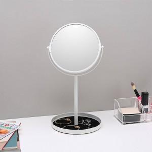 Miroir de maquillage de bureau simple à double face agrandir 6,5 pouces miroir de coiffeuse avec base de stockage de bijoux wx8161502