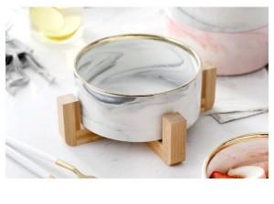 Bambou en marbre Étagère Sable Gris Bol à fruits Style bol à dessert Bol à aliments style occidental Salade Céramique Vaisselle