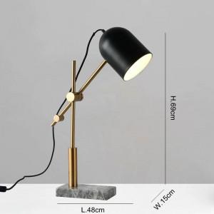 Lampes de table en marbre moderne pour salon chambre bureau bureau éclairage décoration table lumière abat-jour en métal noir lampe de lecture