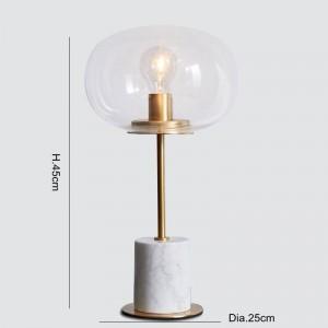 Lampes de table en marbre moderne en métal doré corps corps bureau lumière salon chambre art de fer art en verre clair abat-jour maison liseuse