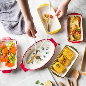 Plat à pâtisserie en céramique MDZF SWEETHOME Plat à rôtir Lasagne Plat à four rectangulaire avec poignée