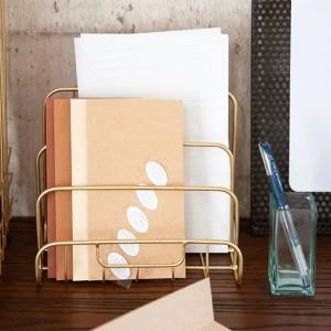 Métal Or Plateau De Rangement Vogue Moderne Mini Nordique Gracieux Net Fer Bureau Magazine Journal Livre Organisateur Panier De Rangement Décor