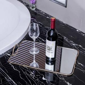 Plateau en métal de miroir européen à la maison de décoration douce orne le plateau de stockage de salle de bains de pièce modèle d'hôtel