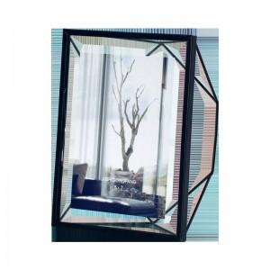 Cadre photo en métal mis en place personnalité créative cadre photo bureau moderne minimaliste géométrique verre cadre photo 6 pouces 7 pouces