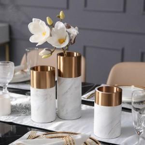 Vase en métal européen moderne vase en marbre maison salon décoration restaurant bureau décoration douce ornements