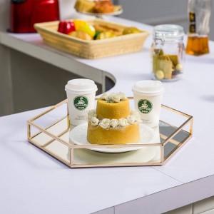 Miroir Plateau Hexagonal Moderne Minimaliste Salle De Modèle En Métal Décoration de La Maison Table Basse Coupe De Fruits Dessert Plateau De Rangement