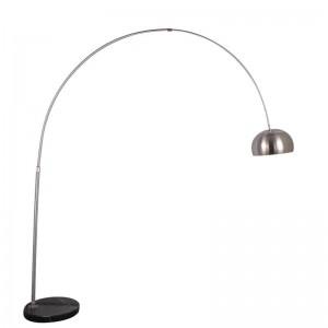 Lampadaire de pêche moderne en acier inoxydable chrome abat-jour lampe de salon Salon lecture chambre bureau lampe debout E27 ampoule