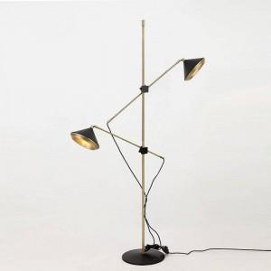 Lampadaire moderne 2 bras Réglable noir blanc plancher réglable Chambre à coucher lumineuse Séduisant Salon Fashional lumière