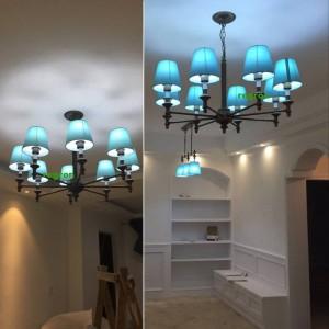 Moderne LED Lustre Lumières Lampe Nordic Salle À Manger Lampe Salle Des Enfants De La Fer Art Blue Style Lustres De La Méditerranée E27