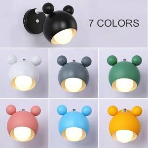 Moderne simple Macaron Lovely Mickey Modèle Chambre Lampes murales Salon Chambre enfants LED E27 ampoule Applique Murale