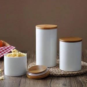 Bocal de rangement en céramique avec couvercle en bambou pour la cuisine, le thé, les grains de café et les épices