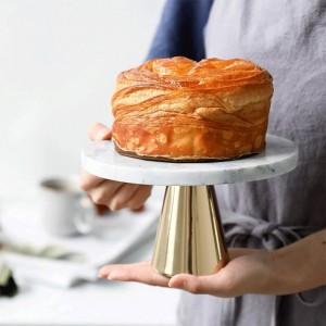 Plateau en marbre naturel Dessert de gâteau Pieds hauts Assiette Mariage Anniversaire Dessert Plateau Décoration Décoration Plateau à dessert Base en métal