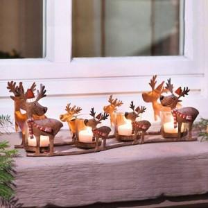 Bougeoir néoclassique Iron Art Elk à la chandelle Coupe Lumière Lumière Décoration de Noël Parure Artisanat Chandelier Statue