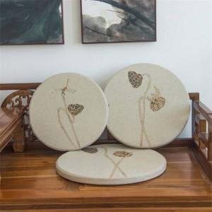 Nouveau tissu en lin éponge Coussin créatif feuille de Lotus Coussin rond Baie vitrée Pad bois massif Canapé Coussins décoratifs