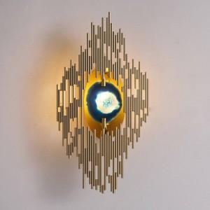 Nouvelle lampe de mur agate classique en métal plaqué or monté lumière home hall couloir éclairage G9 led applique murale