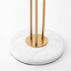 Nouveau classique Creative 3 têtes Lampadaires Plaqué Or lustre en métal Hôtel Villa Luxe Déco LED Lumière debout Marbre