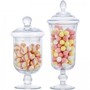 Nouveau verre pot de bonbons créatif avec couvercle réservoir de stockage de stockage bouteille mariage dessert crème glacée tasse décoration de la fenêtre Canettes