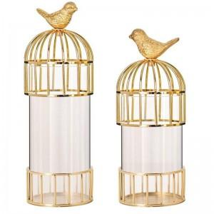 Nouvelle Or Cage À Ois Ornements Modèle En Métal Vase Décoration Pays Américain Modèle Maison Décoration