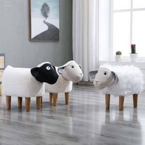 Nouveau ménage bas tabouret pied petit dessin animé animaux banc en bois enfants / enfants chaise salon petite table à thé canapé cuir tissu