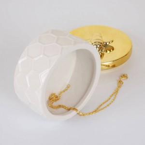 Boîte à bijoux nordique en céramique, réservoir de stockage doré, simple princesse, ornements décoratifs, bague de mariage, boîte à bijoux, boîte à oreilles, boîte de rangement