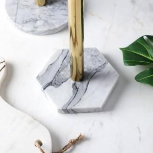 Étagère de rangement pour bureau avec porte-serviettes de cuisine en marbre naturel de style nordique, plaqué or