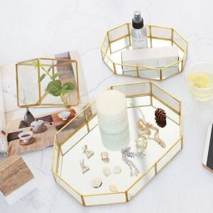Boîte à bijoux nordique en verre maquillage créatif bureau anneau de rangement plateau décorations de la salle plateau d'affichage