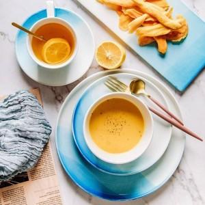 Nordic Gradient Bleu Couleur Plat En Céramique Bol Tasse Set Fruit Plat Assiette À Dessert Plateau Créatif Plat Vaisselle Ensemble Pour Vaisselle