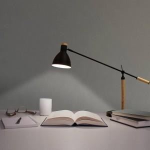 Lampe de table Nordic LED Lampe Minimalisme Lampe Interrupteur Moderne Noir Blanc Rouge Couleur Bois Salon Chambre Bureau Bureau Lampe de lecture
